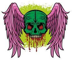 grunge skalle och vingar vektor