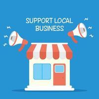 stödja lokala affärskampanjer med megafoner vektor