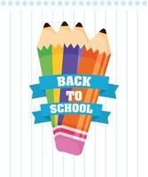 Zurück zum Schulplakat mit Buntstiften vektor
