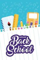 Zurück zum Schulplakat mit Schulmaterial vektor