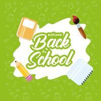 tillbaka till skolans affisch med skolmaterial vektor