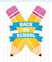 tillbaka till skolan affisch med skolmaterial vektor