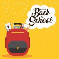 tillbaka till skolaffischen med ryggsäck och förnödenheter vektor
