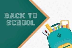 tillbaka till skolaffischen med ryggsäck och förnödenheter