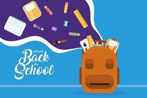 Zurück zum Schulplakat mit Rucksack und Zubehör vektor