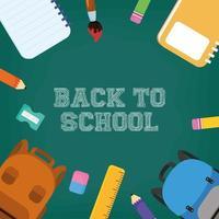 tillbaka till skolans affisch med färgpennor