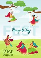 hariyali teej fest affisch vektor