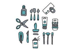 Doodled Blue Craft Werkzeuge vektor
