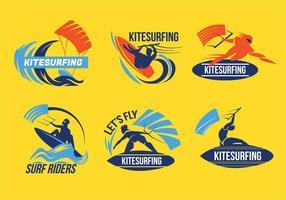 Set av Kitesurfer Flying Over Wave Vectors