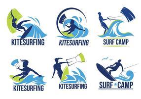 Set av Kitesurfer på vågor vektorer