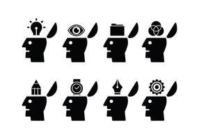 Geöffnete Mind Set Icons