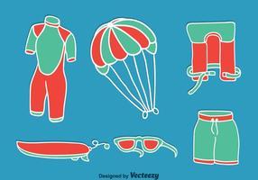 Kitesurfing Element På Blå Vektor