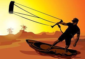 Kitesurfen Sonnenuntergang Silhouette vektor