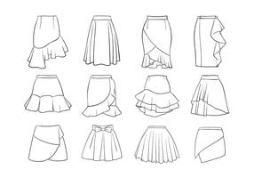 Set Verschiedene Frauen Röcke vektor