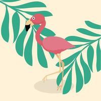 söt flamingo tropisk vektor