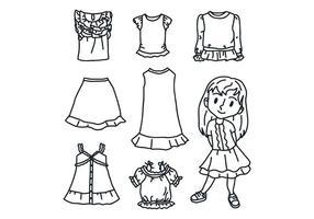 Schwarzes u. Weißes Mädchen mit Kleidung vektor