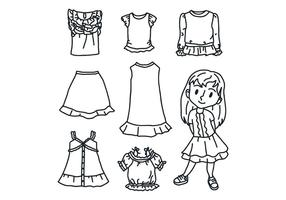 Svartvitt tjej med kläder vektor