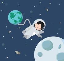 kleines Mädchen Astronaut, das im Raumhintergrund schwimmt vektor