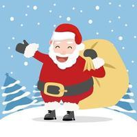 jultomten med trädbakgrund vektor