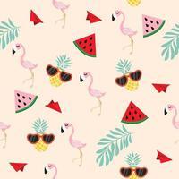 söt rosa flamingo tropisk sömlös med pappersplanmönster