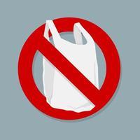 säg inget plastpåse tecken isolerat vektor