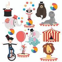 härlig cirkustecken tecknad festivaluppsättning