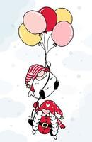 niedlicher Cartoon mit zwei Weihnachtszwergen mit Luftballons