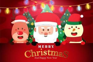 Frohe Weihnachten und frohes neues Jahr Kartenentwurf vektor