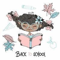 süßes dunkelhäutiges Mädchen mit Zöpfen, die ein Buch lesen. vektor