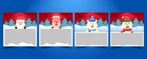 uppsättning mallar för god jul sociala medier vektor