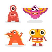 Satz Charakter Maskottchen Design Monster vektor