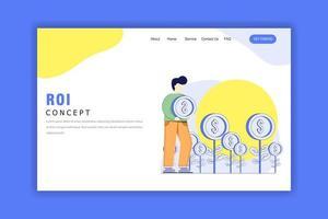 platt designkoncept av avkastning på investering vektor