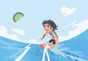 Junger Mann, der Kitesurfing-Vektor tut vektor