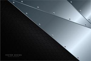 moderner silberner und schwarzer metallischer Hintergrund vektor