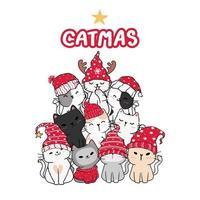 söta kattvänner i julgranform vektor