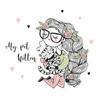 Ein süßes Mädchen hält ihre Haustierkatze.