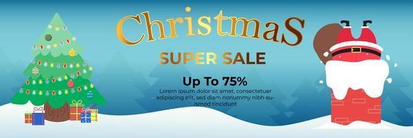 Weihnachtsbanner Super Sale bis zu 75 Prozent vektor
