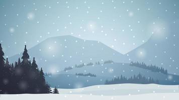 Winterlandschaft mit Bergen, Kiefern, Wald, Schneefall. vektor