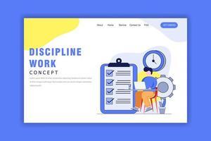 platt designkoncept av disciplinarbete, tidshantering vektor