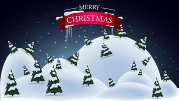 hälsning vykort med natt vinterlandskap vektor