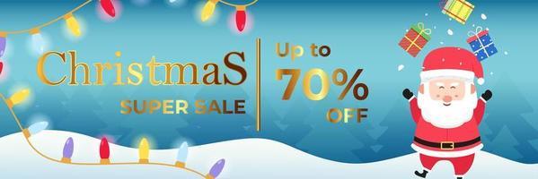 Weihnachtsbanner Super Sale bis zu 70 Prozent vektor