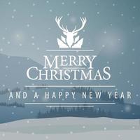 graue quadratische Weihnachtspostkarte mit Winterlandschaft vektor