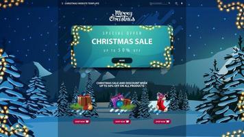 Weihnachts-Website-Vorlage mit Rabatt-Banner vektor