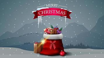 Postkarte mit Eiszapfen und Weihnachtsmann-Tasche vektor