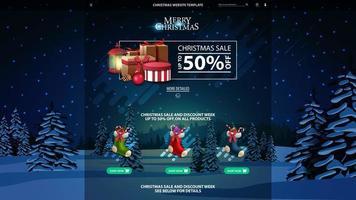 jul webbplats mall med rabatt banner vektor