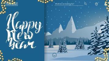 Frohes neues Jahr, blaue Postkarte für Website vektor
