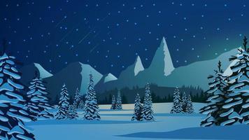 Winterlandschaft mit schneebedeckten Kiefern vektor