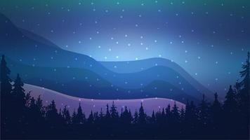 natt vinterlandskap med berg vektor