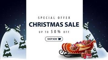 Rabatt-Banner mit Weihnachtsmann-Tasche mit Geschenken vektor