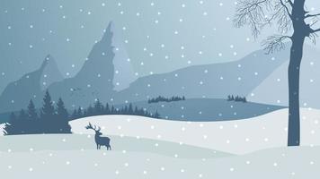 vinterlandskap med berg och silhuett av rådjur vektor